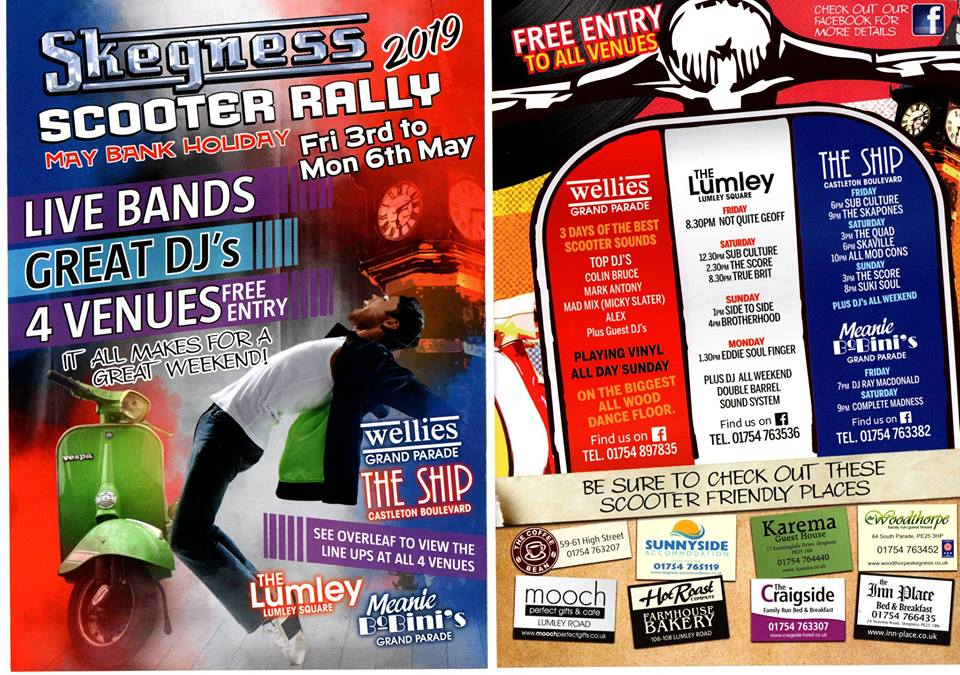 Skegness Scooter Weekender @ Wellies Bar, The Lumley, The Ship & Meanie Bobinies