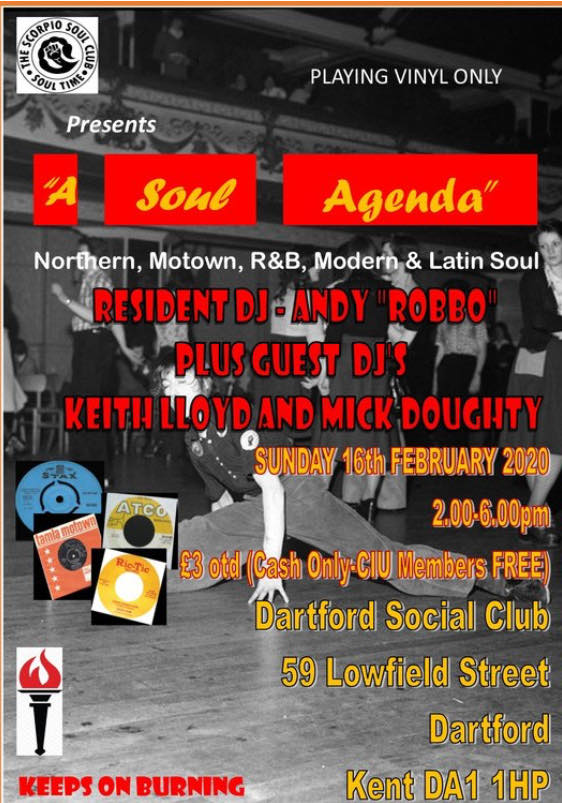 "Scorpio Soul Club Presents ""A Soul Agenda"" @ Dartford Social Club"